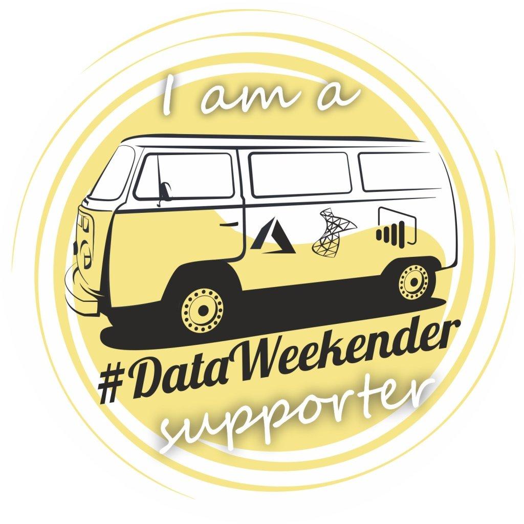Yellow DataWeekender van, the cool logo of DataWeekender